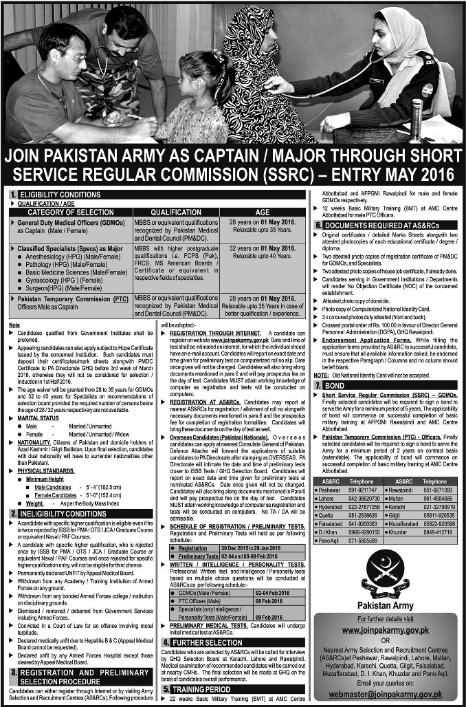 Army Jobs Short Service Regular Commission as Captain, Major SSRC 2017 Online Registration