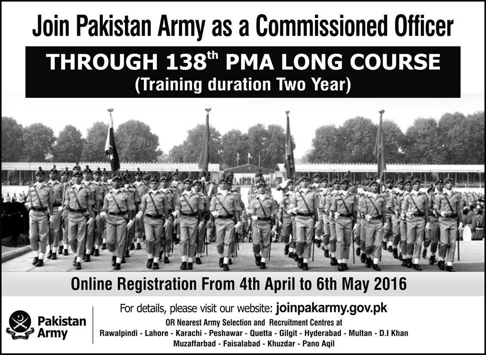 Pak Army Jobs 2016 Join PMA Long Course 138th as commissioned Officer