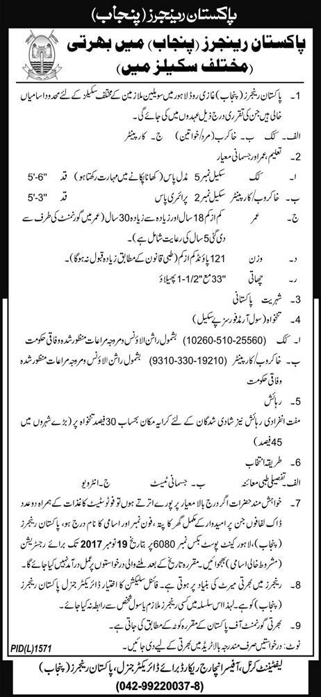 Pakistan Rangers Jobs 2017 Latest (Punjab) – Skilled Worker
