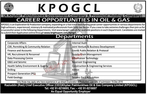 KPOGCL Jobs Khyber Pakhtunkhwa Oil & Gas Company Limited
