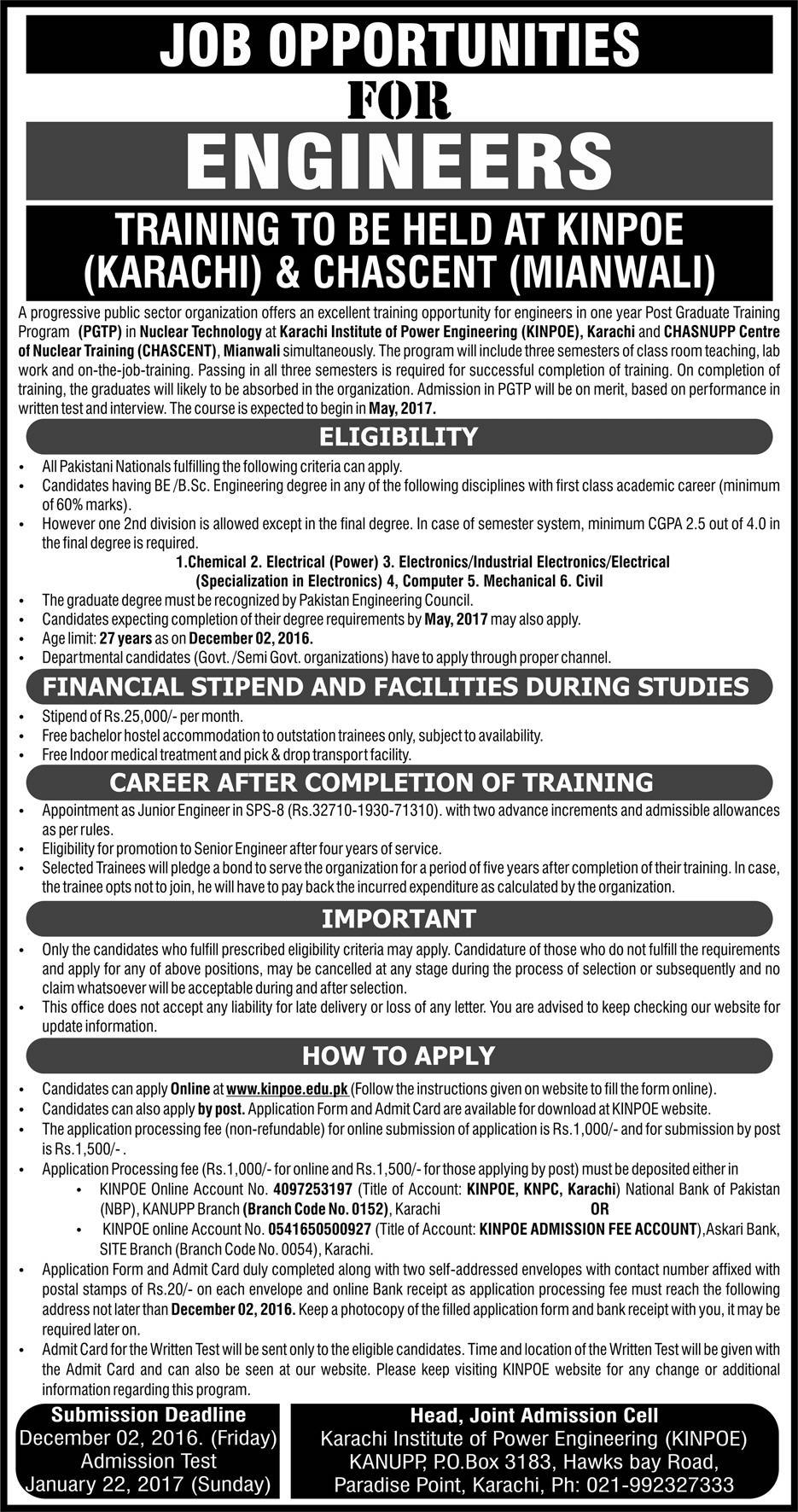 KINPOE PGTP Post Graduate Training Program 2016 PAEC Junior Engineers KINPOE & CHASCENT