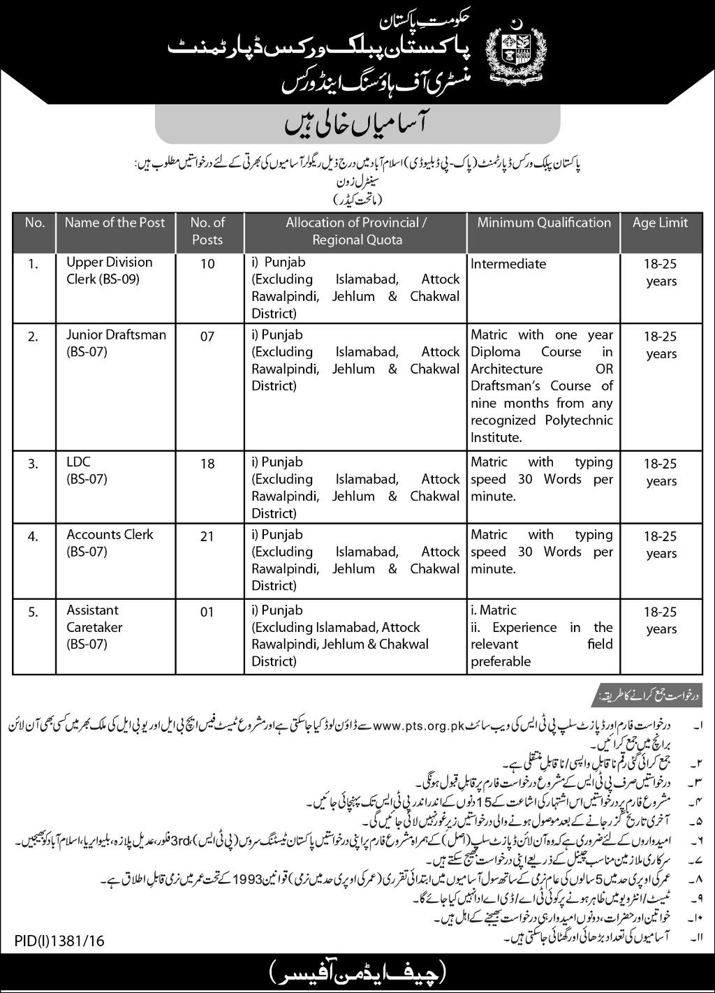 PWD Jobs 2016 for Punjab Pakistan Public Works Department