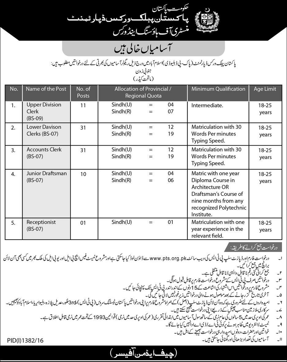 PWD Jobs 2016 for Sindh Pakistan Public Works Department