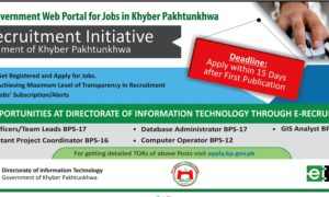 Directorate of Information Technology Khyber Pakhtunkhwa KPK Jobs 2016 IT Officers & Others