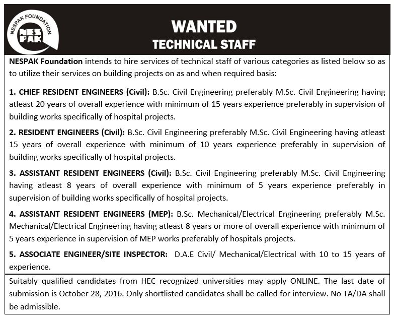 NESPAK Foundation Jobs 2016 Resident Engineers