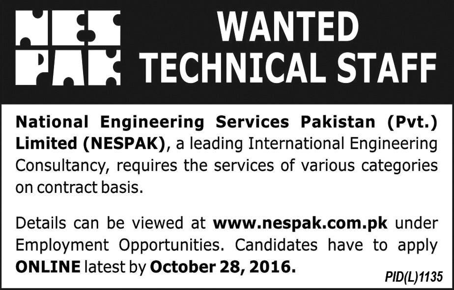NESPAK Jobs 2016 Apply Online Junior /Senior Engineers ,Architects & Others