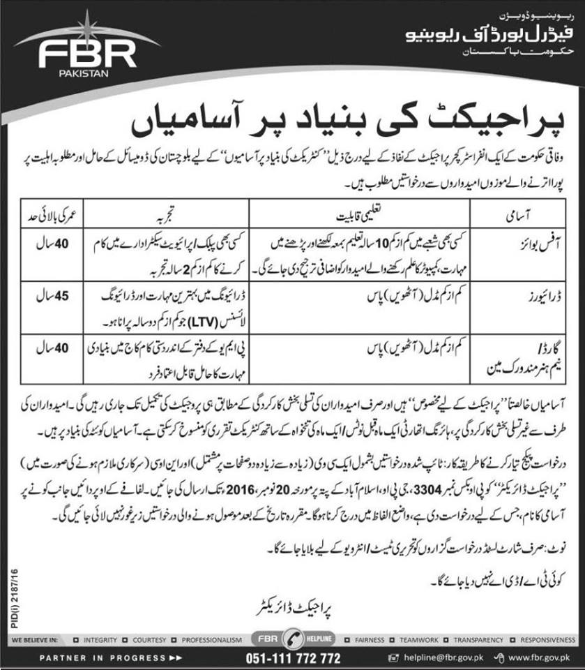 FBR Jobs 2016 Federal Board of Revenue