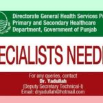 Medical Specialists Jobs in Primary and Secondary Health Care Department Punjab
