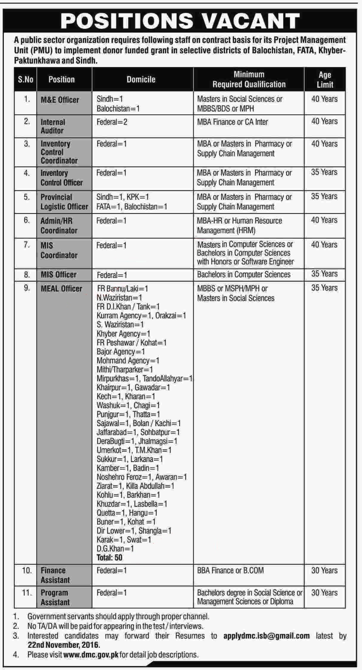 ministry-of-national-health-services-pakistan-jobs-2016-directorate-of-malaria-control-dmc-jobs-latest-vacancies-advertisement