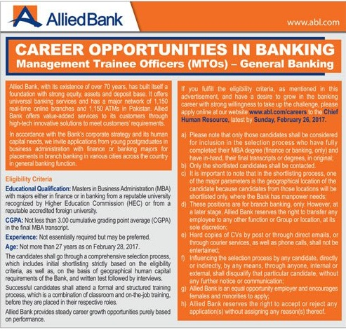 Allied Bank Ltd Jobs 2017 MTO's Management Trainee Officer