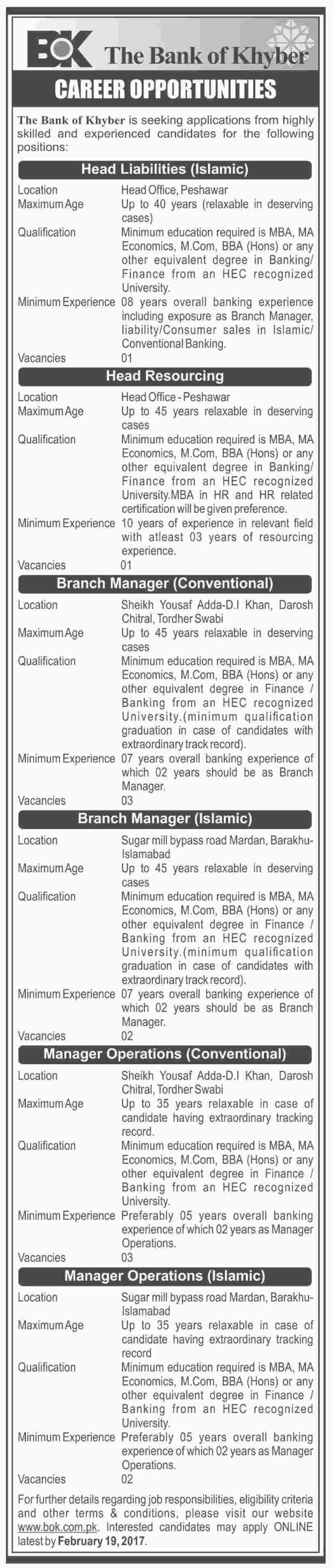 BOK Jobs 2017 The Bank Of Khyber