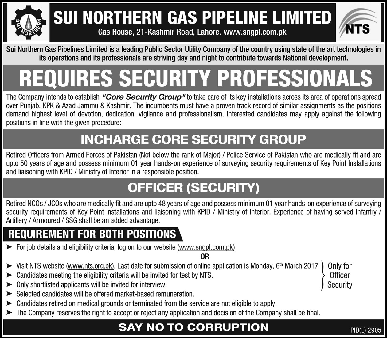 SNGPL Jobs 2017 Sui Northern Gas Pipelines Limited