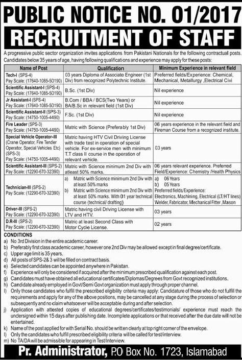 Atomic Energy Jobs 2017 PO Box 1723 Islamabad For Matric, Intermidate, Bachelors & DAE