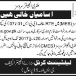 MES Jobs 2017 Pak Army Military Engineer Services