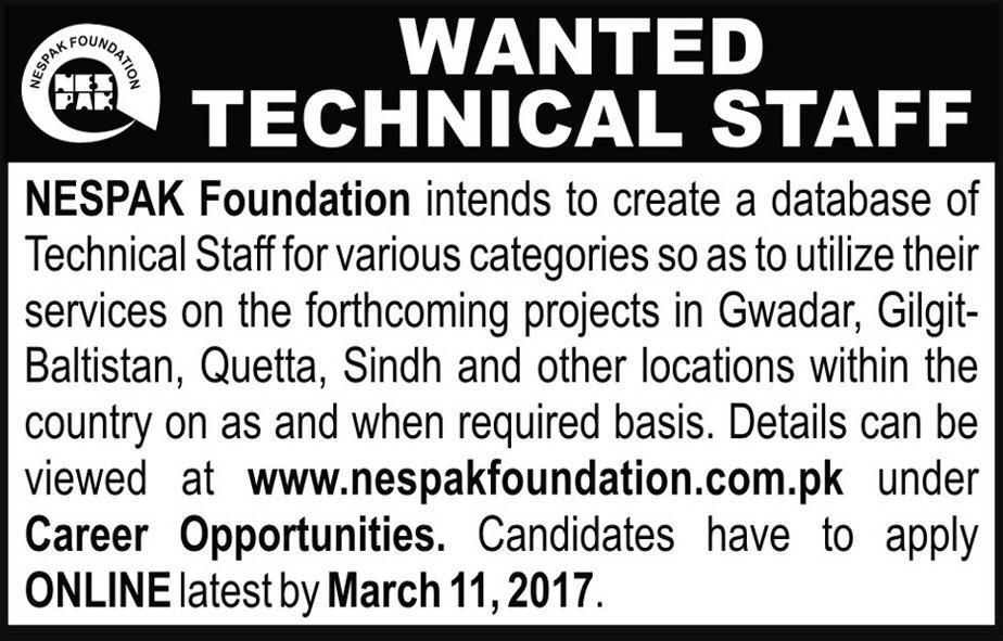NESPAK Foundation Jobs 2017 Positions for Technical Staff