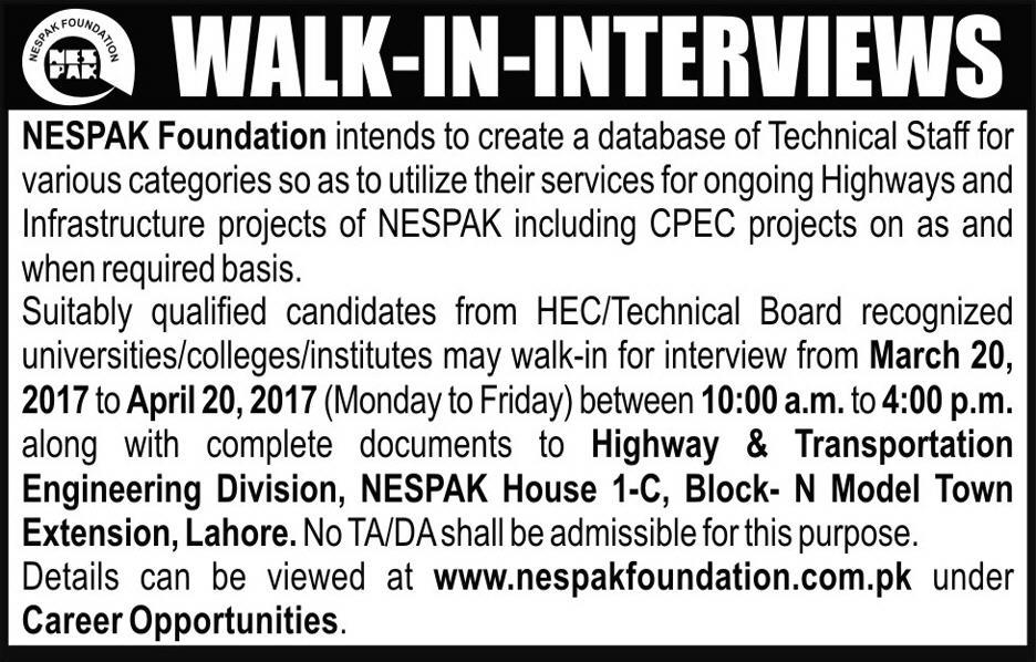 NESPAK Foundation Jobs 2017 for CPEC Projects - Highways and  Infrastructure