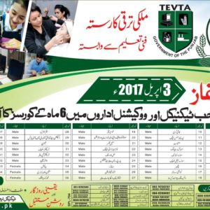 TEVTA Short Courses 2017 Free for 6 Months Duration