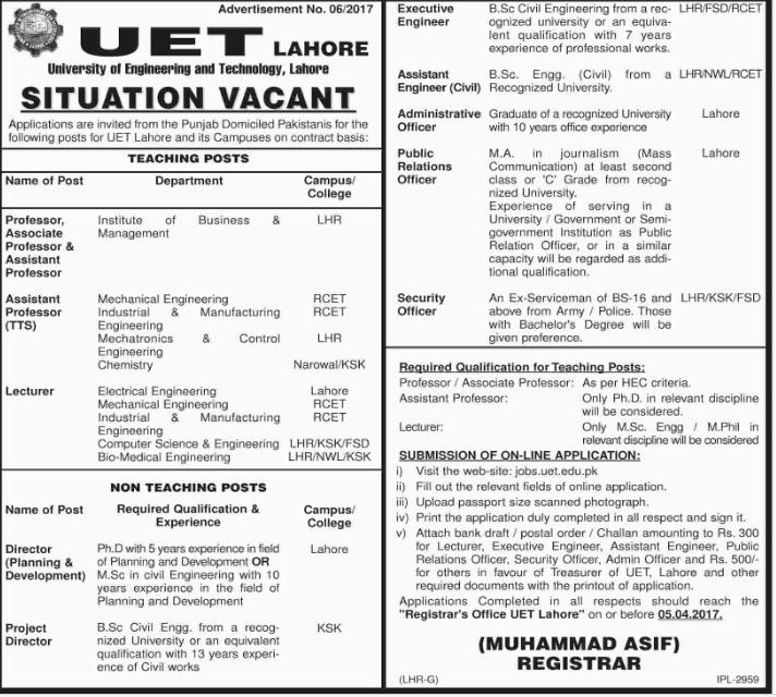 UET Lahore Jobs 2017 for Teaching & Non Teaching Staff