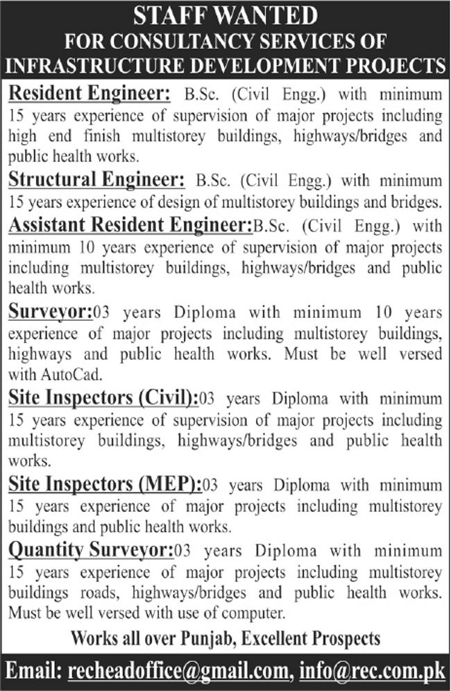 Engineers and DAE Latest Jobs 2017 in Punjab Infrastructure Development Projects