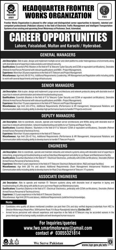 FWO Jobs 2018 Frontier Works Organization Engineering and others Jobs Pak Army Apply Online