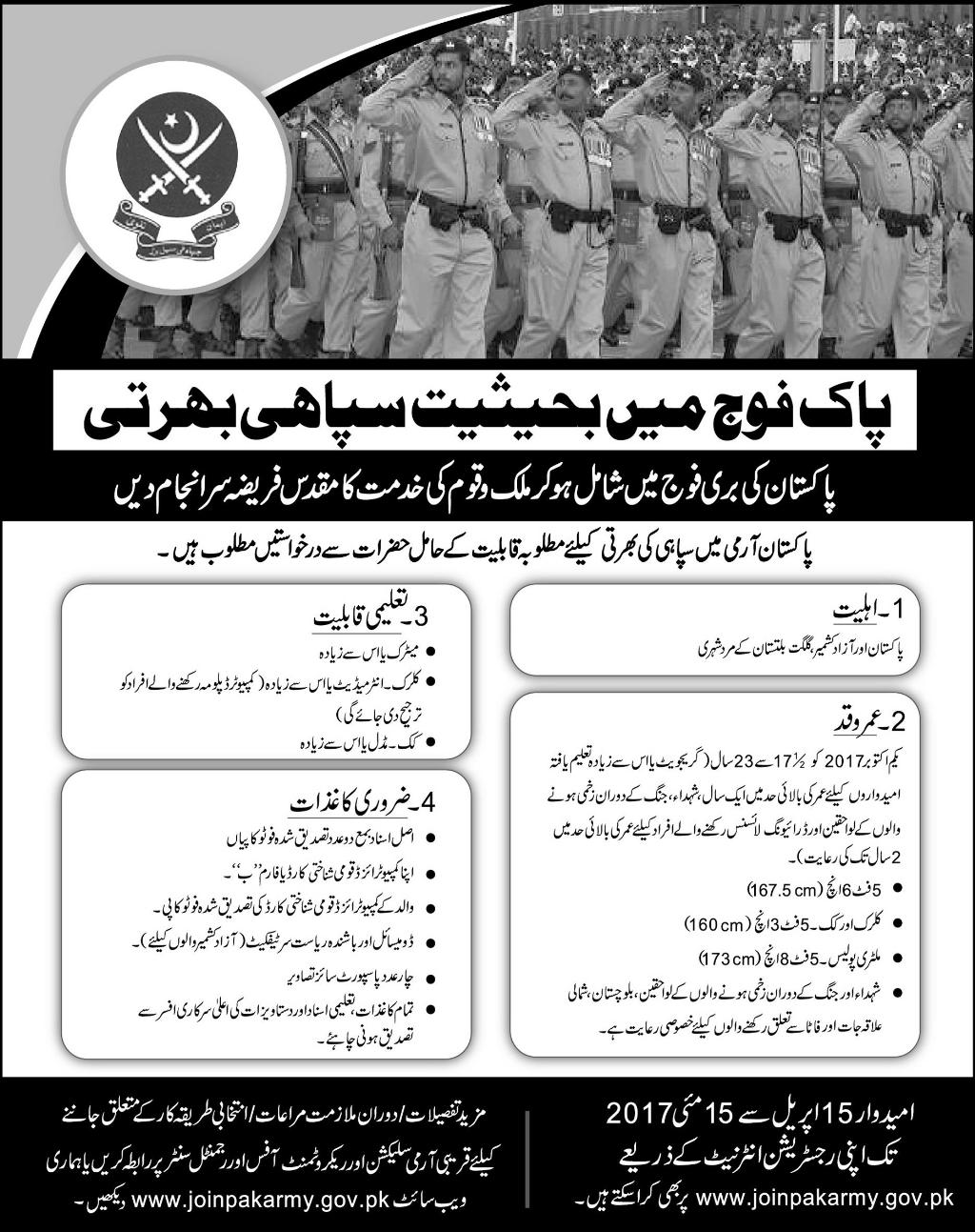 Join Pak Army 2017 as Soldier Apply Online Registration