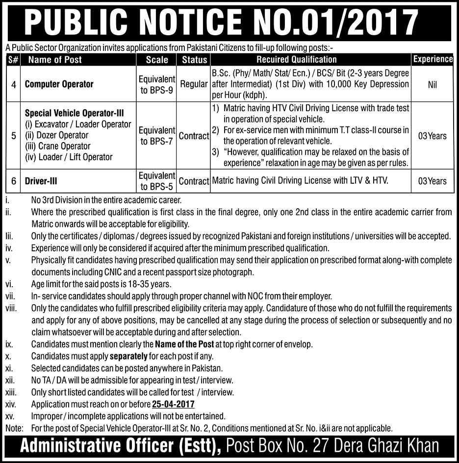 PO Box No 27 Dera Ghazi Khan Atomic Energy Jobs 2017