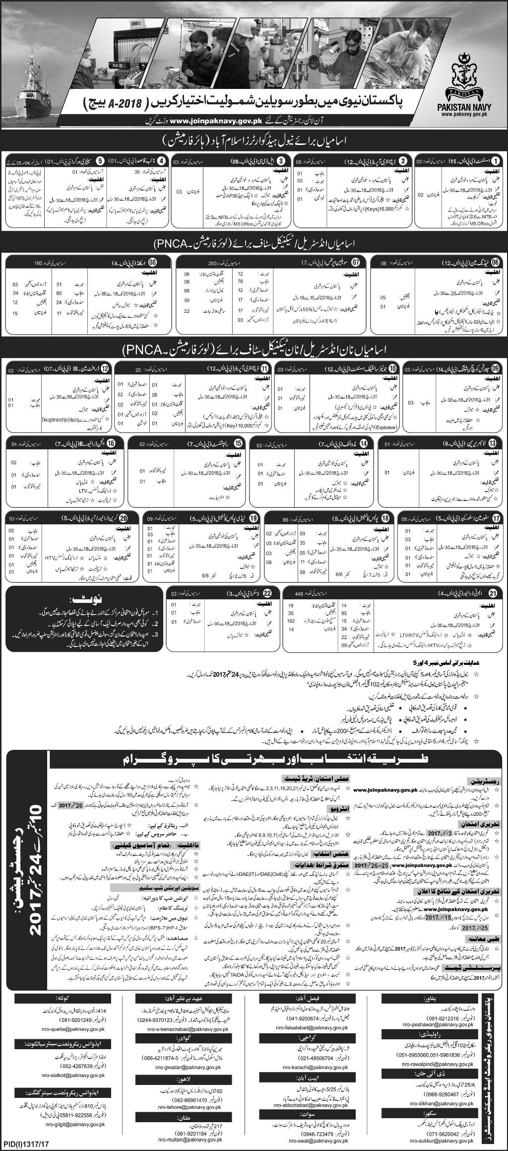 Pak Navy Jobs 2017 as Civilian Batch B-2018 Apply Online Registration