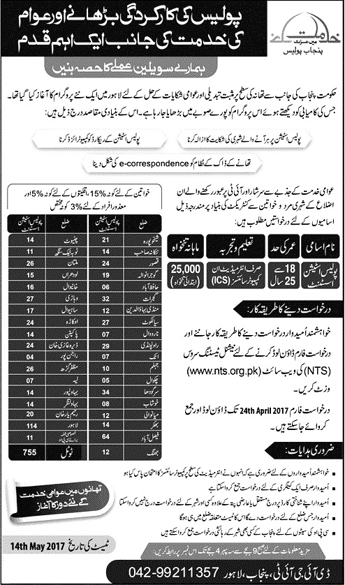 Punjab Police Jobs 2017 as Police Station Assistants 755 vacancies in All District of Punjab