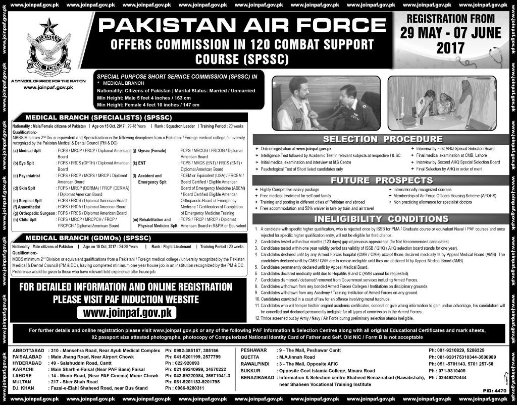 Join PAF 2017 Latest in 120 Combat Support Course Medical Branch Specialist and GDMO's as Commission Officer Online Registration