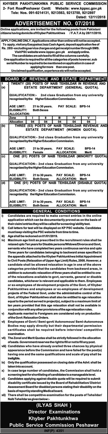 KPPSC Jobs in Khyber Pakhtunkhwa Public Service Commission