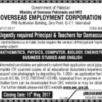 Overseas Employment Corporation Pakistan as Principal & Teachers for Damascus