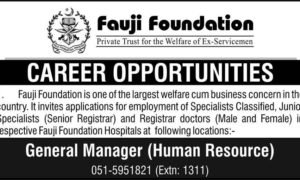 Career Opportunities in Fauji Foundation 2017