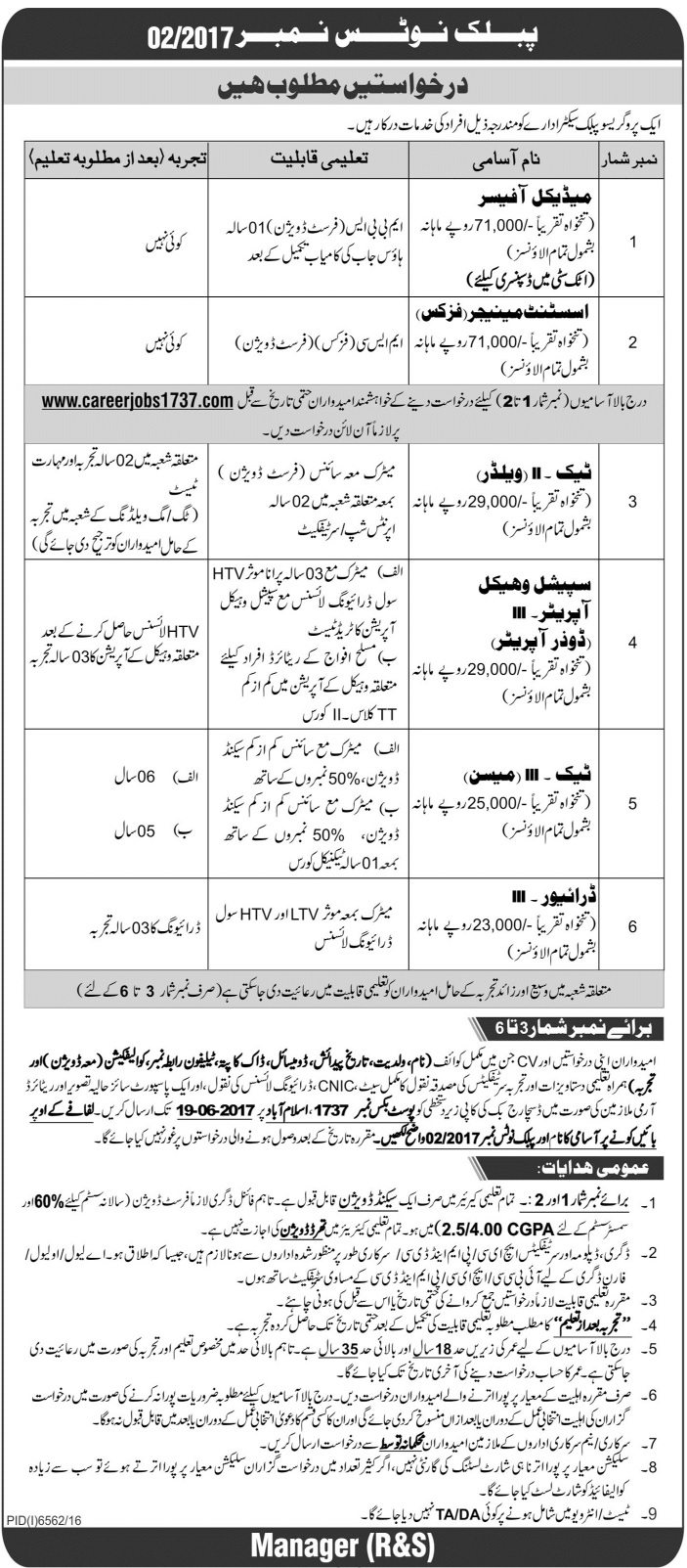 Careerjobs1737.Com Latest Jobs 2017 PO Box No 1737 Islamabad Jobs 2017