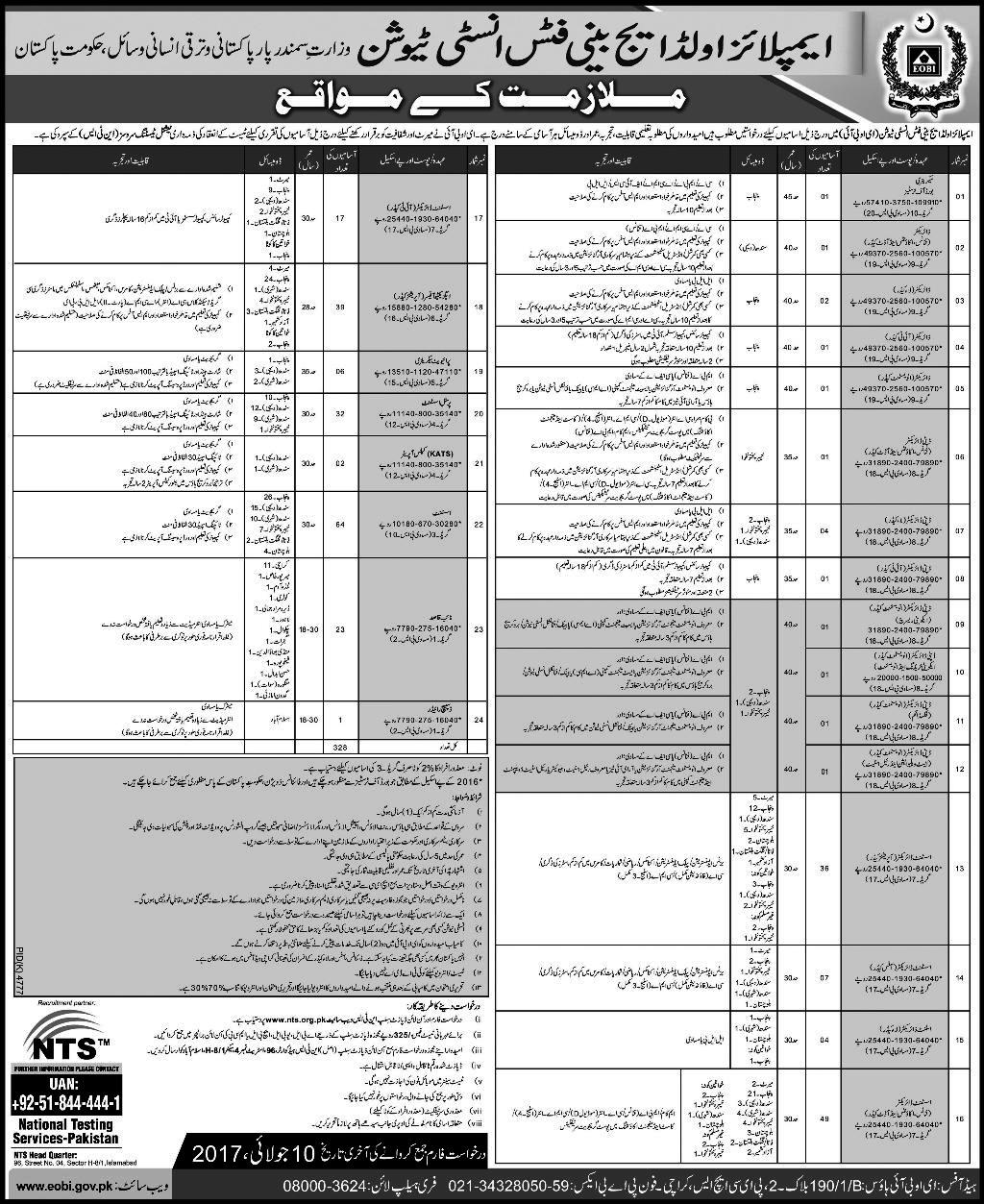 Employment Old Age Benefit Institution Jobs 2017 Latest EOBI Jobs 2017