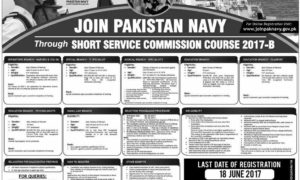 Join Pakistan Navy 2017 Latest Through Short Service Commission Course 2017-B Apply Online
