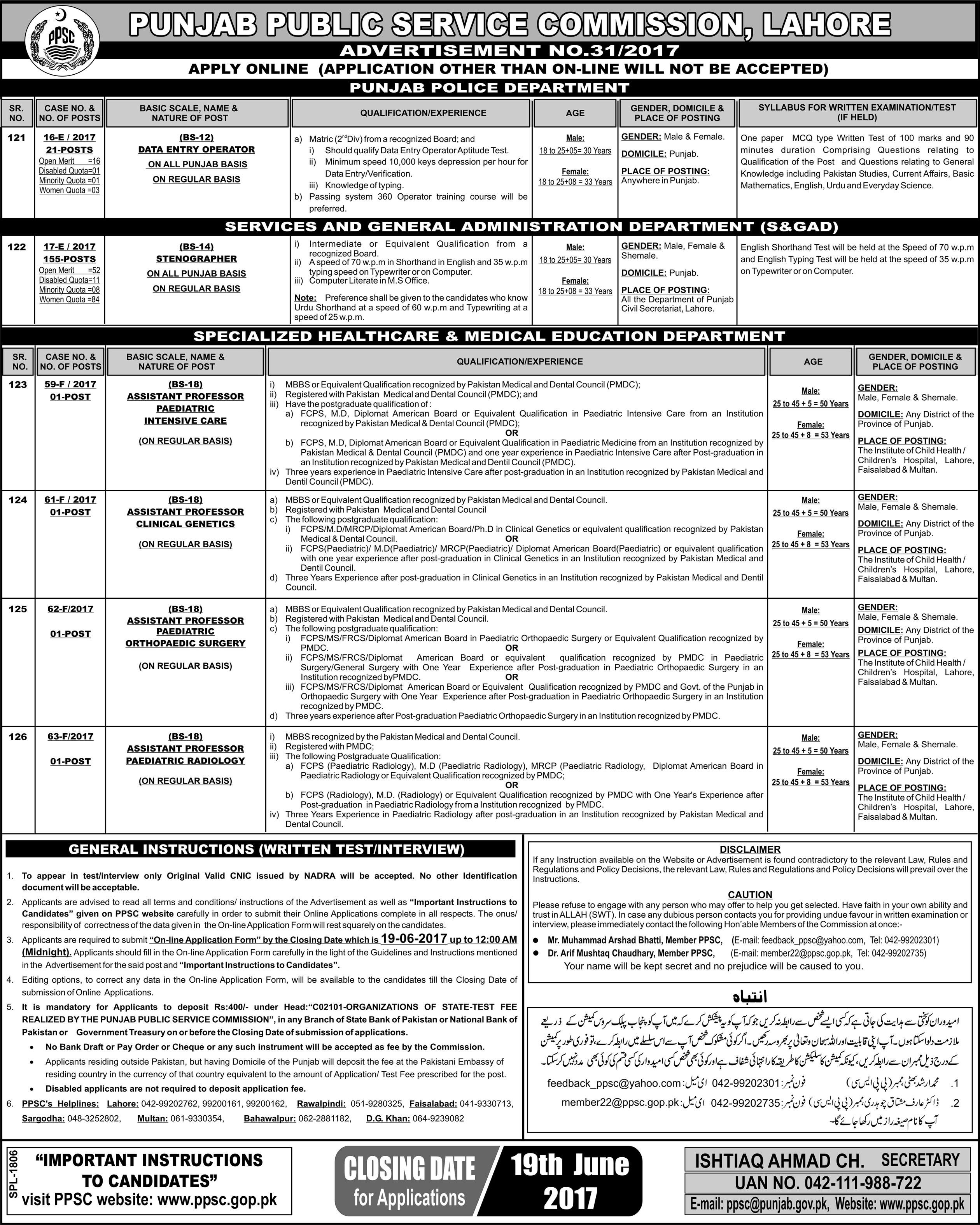 PPSC Jobs 2017 Latest Punjab Public Service Commission