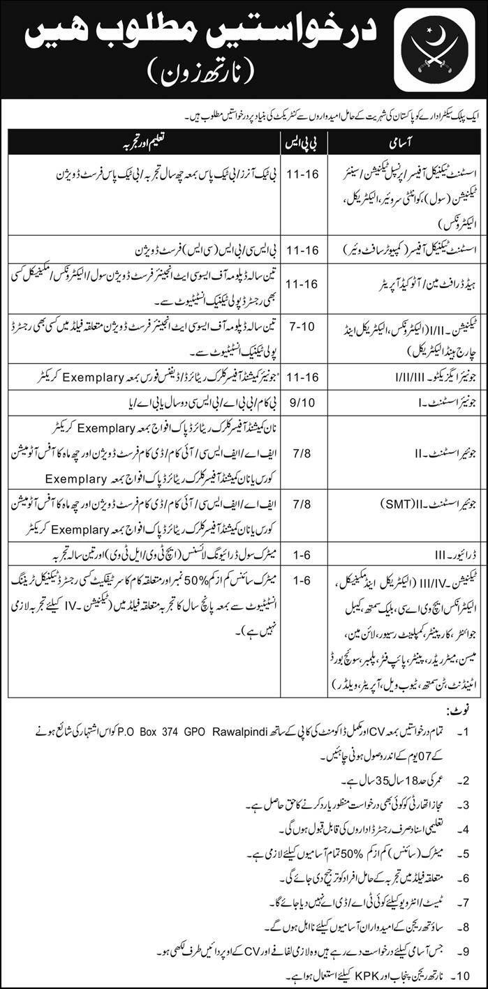 Pakistan Army Latest Jobs 2017 PO Box 374 Rawalpindi