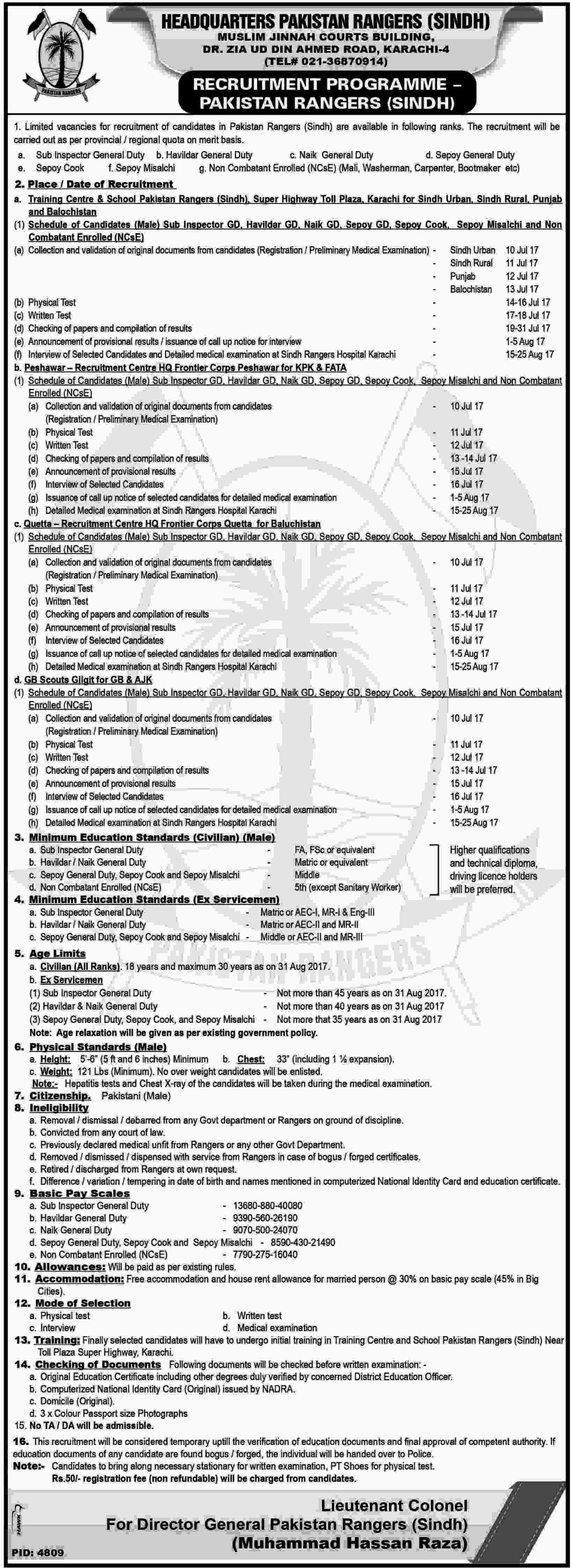 Pakistan Rangers Jobs 2017 Latest in Sindh as Sub Inspector, Sipahi and Others