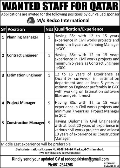 Redco International Jobs 2017 Latest for Qatar Managers and Engineers