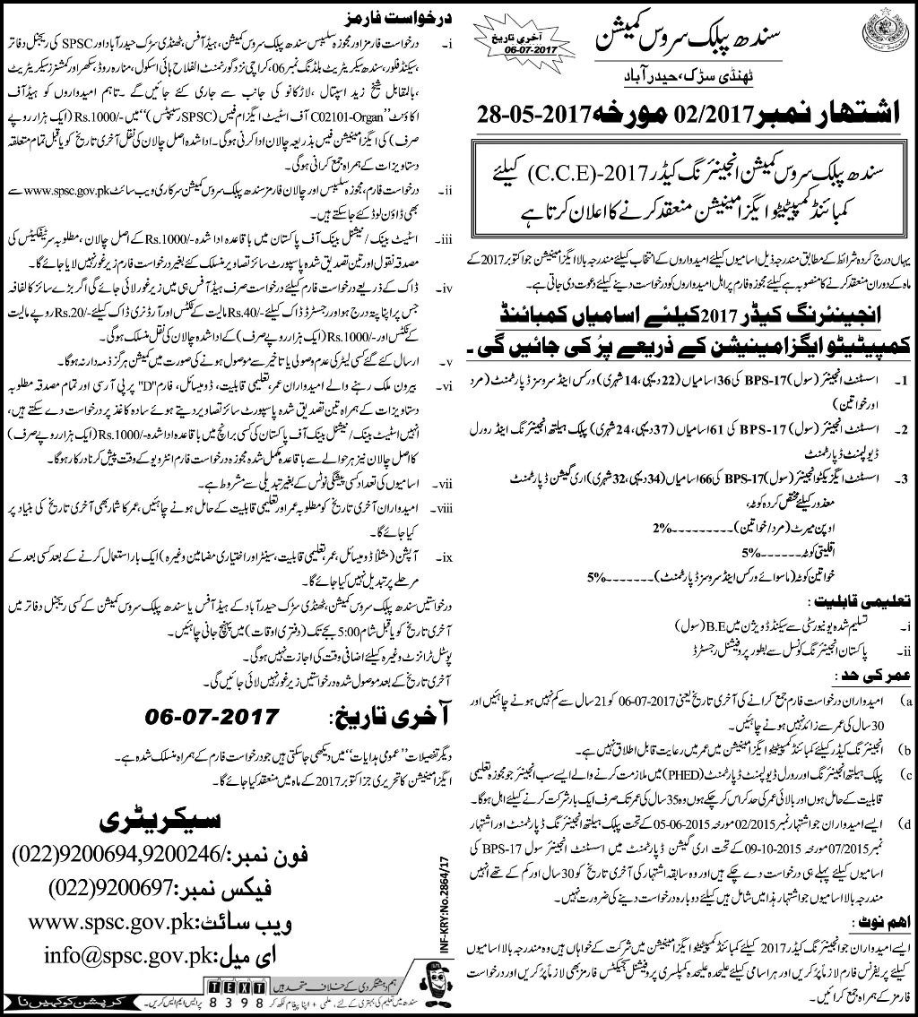 SPSC Jobs 2017 Latest in Sindh Public Service Commission