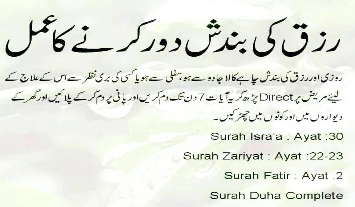 Rozi ka wazifa in urdu