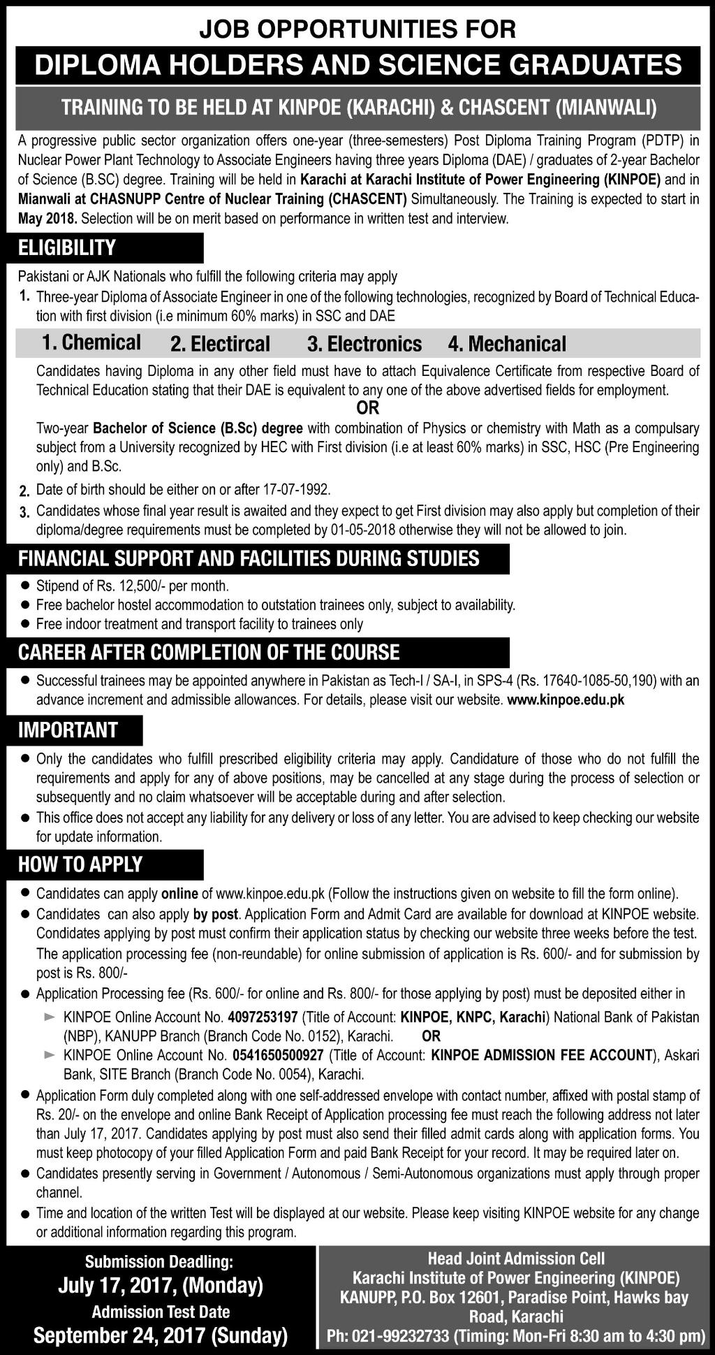 Atomic Energy Jobs 2017 Latest For DAE and Science Graduates Training at KINPOE and CHASCENT