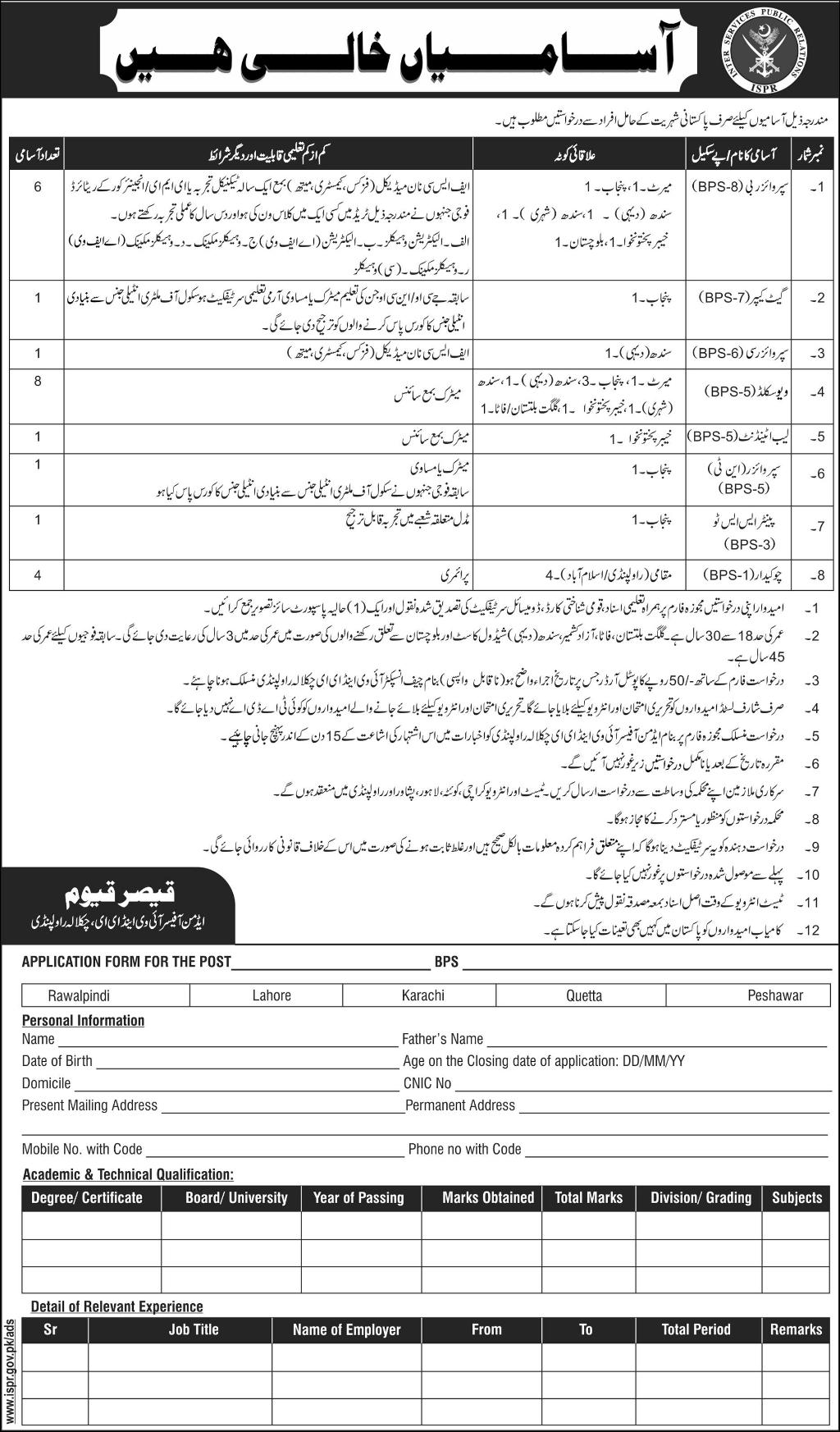 ISPR Jobs 2017 Latest Inter Services Public Relations