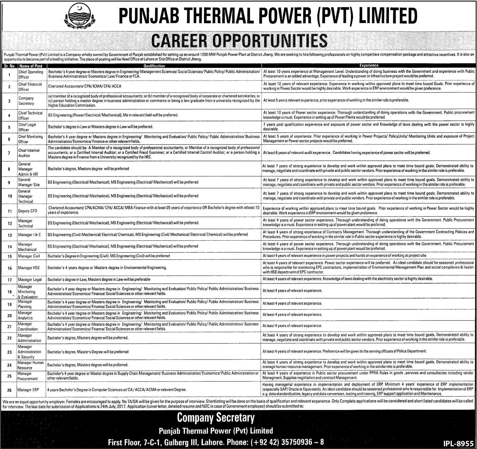 Punjab Thermal Power Pvt Limited Jobs 2017 Latest at Lahore and Jhang