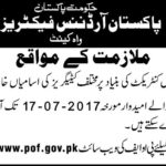 POF Jobs 2017 Pakistan Ordnance Factories Latest 301 Vacancies