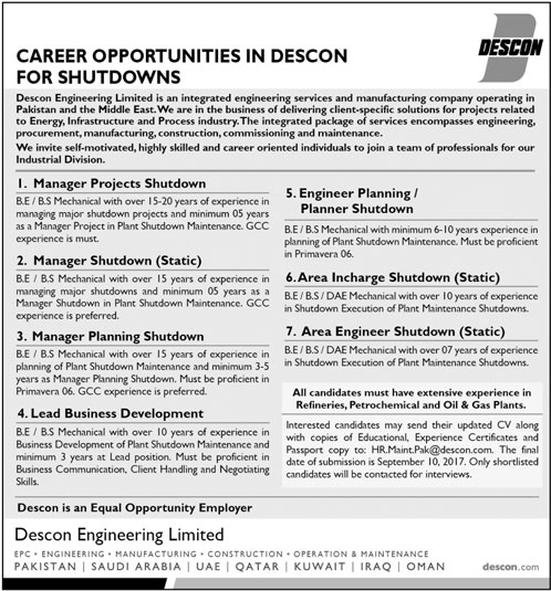 DESCON Engineering Jobs 2017 Latest Vacancies for Engineering and DAE