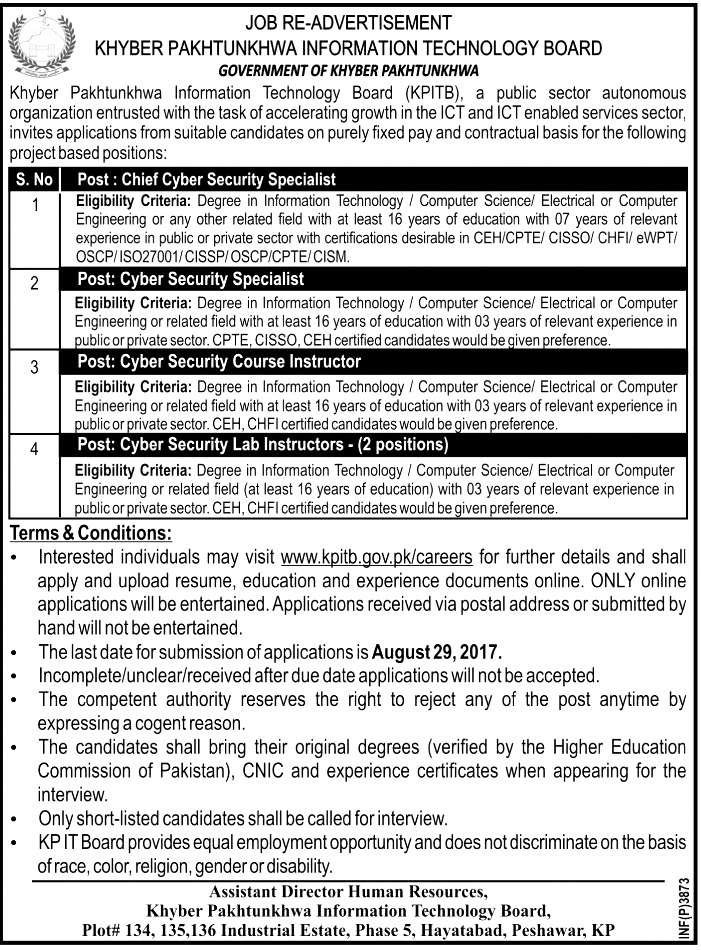 KPITB Jobs 2017 Latest Khyber Pakhtunkhwa Information Technology Board