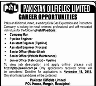POL Jobs 2018 Pakistan Oilfields Limited Apply Online