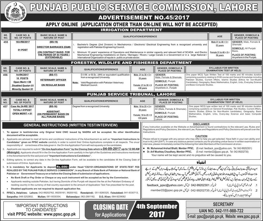 PPSC Jobs 2017 Latest Advertisement No 45 2017