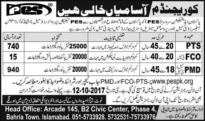 PES Jobs 2017 Pakistan Edification Services for PMD, PTS and FCO Latest 1695 Vacancies
